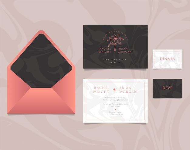 Modelo de cartão de convite de casamento com envelope, design elegante nas cores rosa, preto e brancos