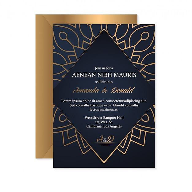 Modelo de cartão de convite de casamento com estilo étnico, design oriental