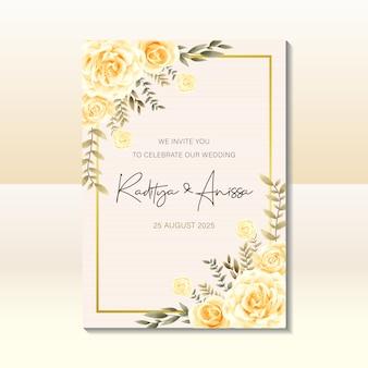 Modelo de cartão de convite de casamento com estilo vintage aquarela