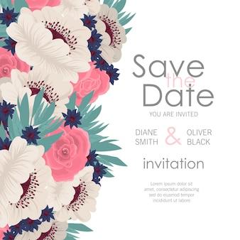 Modelo de cartão de convite de casamento com flores coloridas.