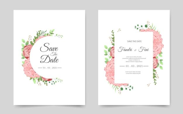 Modelo de cartão de convite de casamento com flores cor de rosa