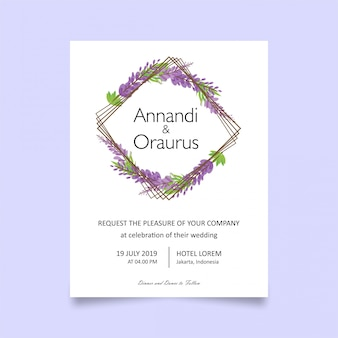 Modelo de cartão de convite de casamento com flores de lavanda
