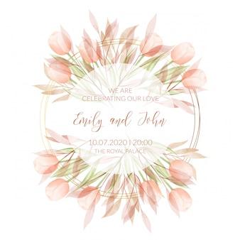 Modelo de cartão de convite de casamento com flores em aquarela