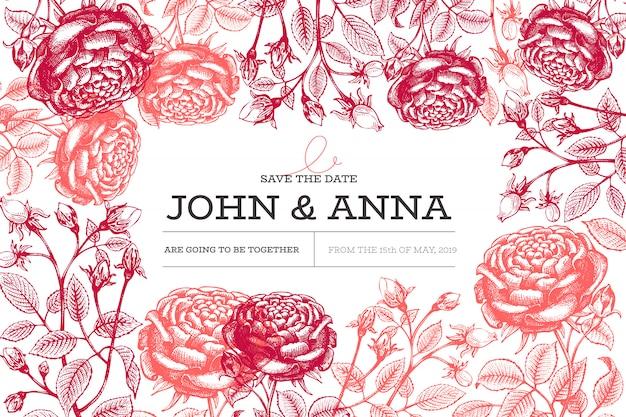Modelo de cartão de convite de casamento com flores rosas mão desenhada vintage botânica