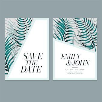 Modelo de cartão de convite de casamento com folha