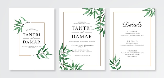 Modelo de cartão de convite de casamento com folhagem em aquarela