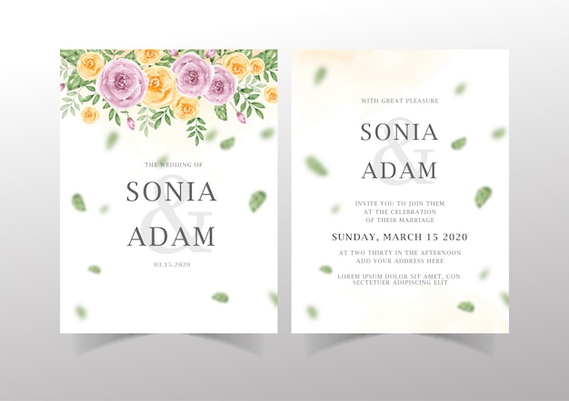 Modelo de cartão de convite de casamento com folhagem romântica