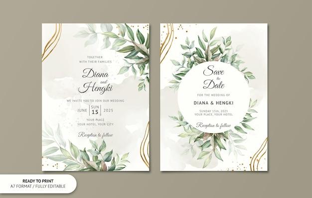 Modelo de cartão de convite de casamento com folhas em aquarela de ouro