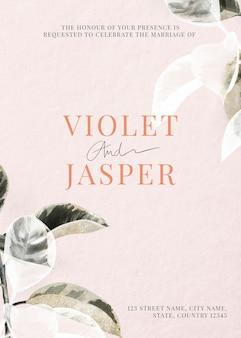 Modelo de cartão de convite de casamento com folhas rosa