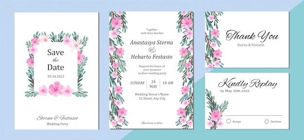 Modelo de cartão de convite de casamento com fundo aquarela floral rosa