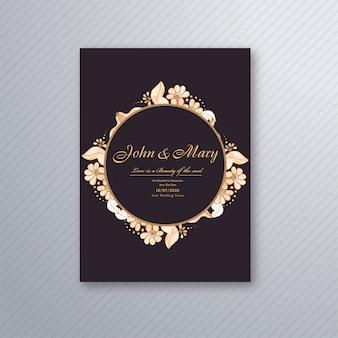 Modelo de cartão de convite de casamento com fundo floral decorativo