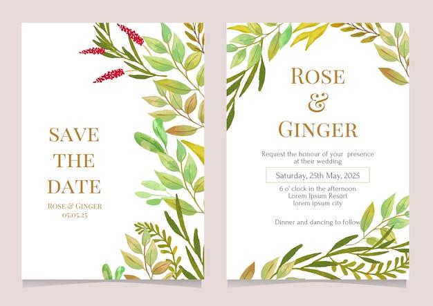 Modelo de cartão de convite de casamento com ilustração em aquarela de vegetação