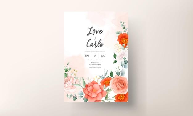 Modelo de cartão de convite de casamento com linda flor de laranja