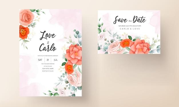 Modelo de cartão de convite de casamento com linda flor de laranja Vetor Premium