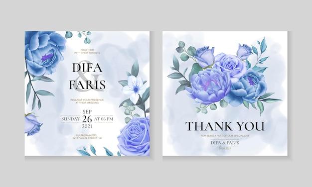Modelo de cartão de convite de casamento com lindas flores azuis