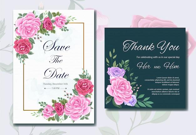 Modelo de cartão de convite de casamento com lindas flores e folhas