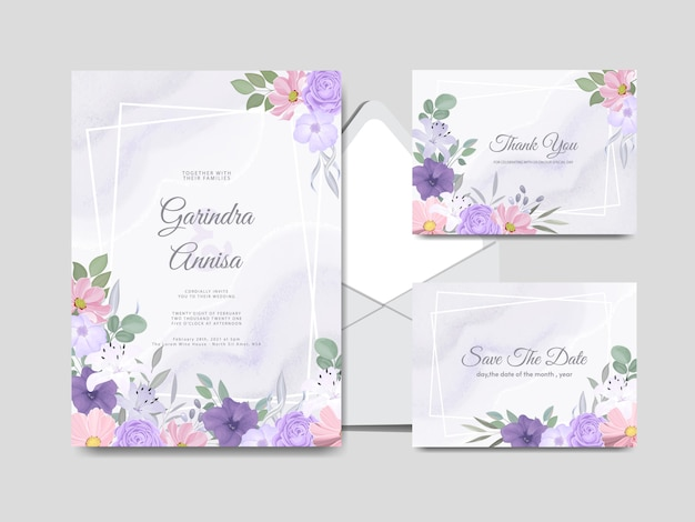 Modelo de cartão de convite de casamento com lindas folhas florais coloridas premium
