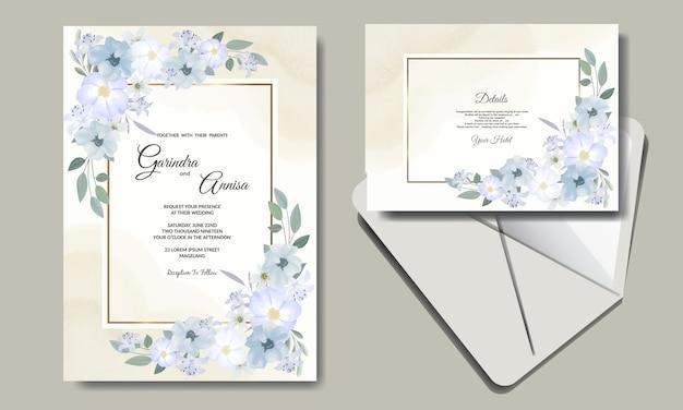 Modelo de cartão de convite de casamento com lindas folhas florais premium
