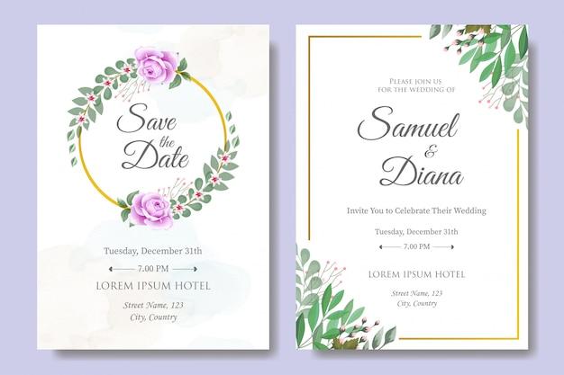 Modelo de cartão de convite de casamento com lindas folhas florais