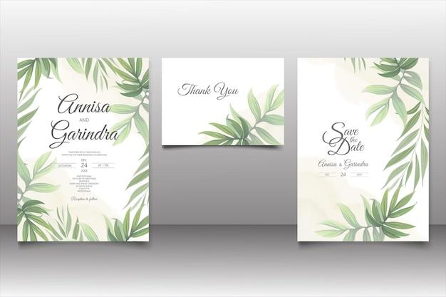 Modelo de cartão de convite de casamento com lindas folhas tropicais