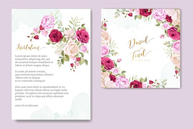Modelo de cartão de convite de casamento com lindas rosas cor de rosa