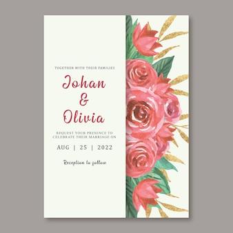 Modelo de cartão de convite de casamento com lindas rosas vermelhas em aquarela