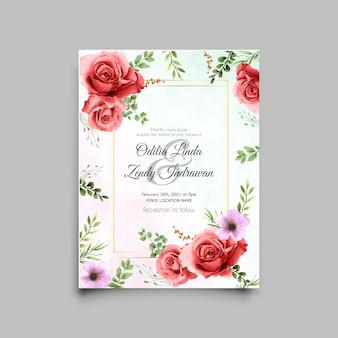 Modelo de cartão de convite de casamento com lindas rosas vermelhas