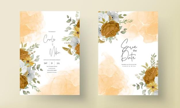 Modelo de cartão de convite de casamento com mão desenhada outono outono floral