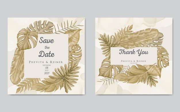 Modelo de cartão de convite de casamento com moldura de folhas de ouro