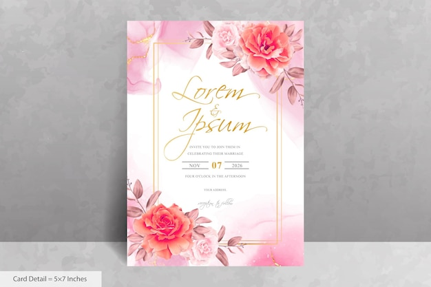 Modelo de cartão de convite de casamento com moldura elegante de flor e eucalipto