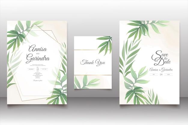 Modelo de cartão de convite de casamento com moldura floral linda