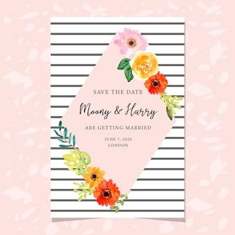 Modelo de cartão de convite de casamento com moldura floral