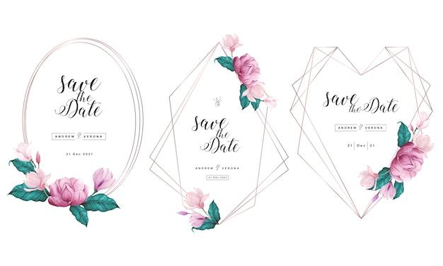 Modelo de cartão de convite de casamento com moldura geométrica de ouro rosa e decoração floral em aquarela.