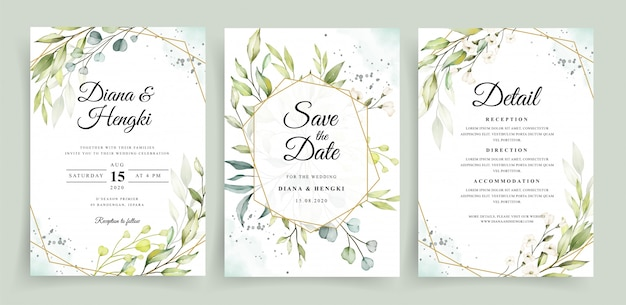 Modelo de cartão de convite de casamento com moldura geométrica e aquarela de vegetação