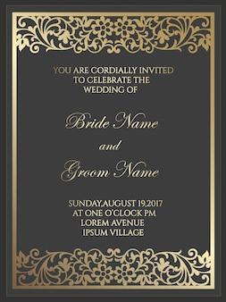 Modelo de cartão de convite de casamento com padrão de folha de ouro. design de borda de quadro de corte a laser.