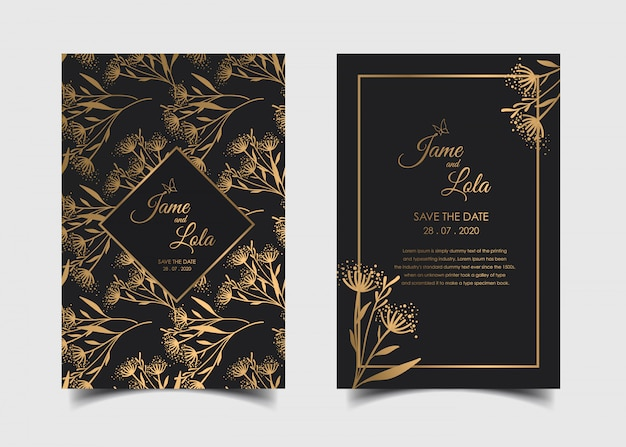 Modelo de cartão de convite de casamento, com padrão floral e design de luxo