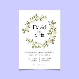 Modelo de cartão de convite de casamento com rosas brancas