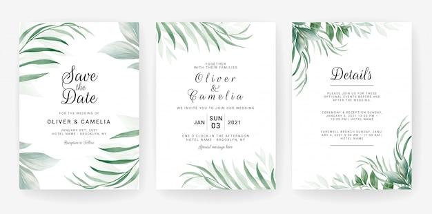 Modelo de cartão de convite de casamento conjunto com aquarela deixa a decoração.