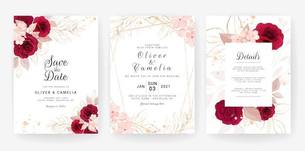 Modelo de cartão de convite de casamento conjunto com aquarela e decoração floral. ilustração de flores