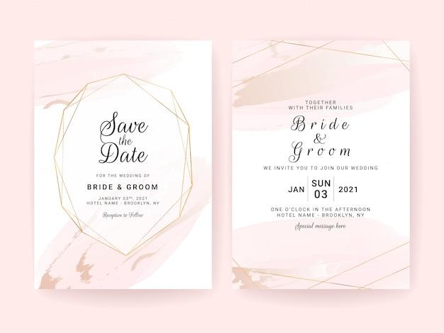 Modelo de cartão de convite de casamento conjunto com aquarela splash e moldura geométrica.