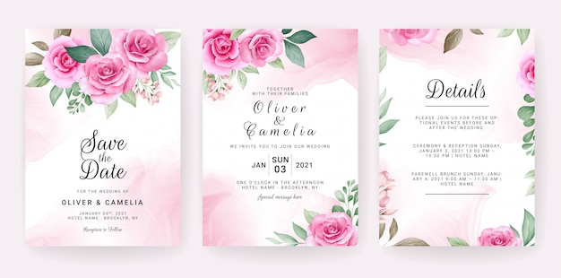 Modelo de cartão de convite de casamento conjunto com arranjos florais em aquarela e fronteira.
