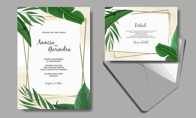 Modelo de cartão de convite de casamento conjunto com decoração de folhas tropicais