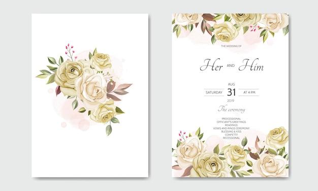 Modelo de cartão de convite de casamento conjunto com lindas folhas florais