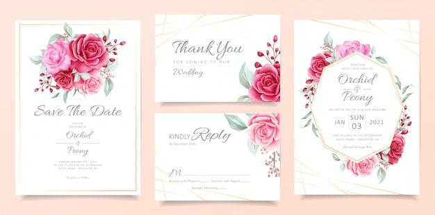 Modelo de cartão de convite de casamento conjunto com moldura floral e buquê de decoração