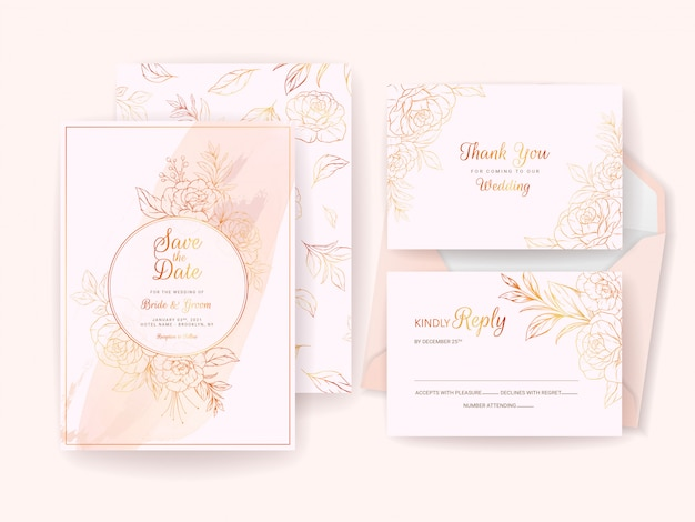 Modelo de cartão de convite de casamento conjunto com moldura floral ouro, borda e padrão. composição de flores de linha