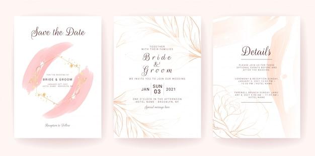 Modelo de cartão de convite de casamento conjunto com respingo aquarela ouro e linha floral. traçado de pincel
