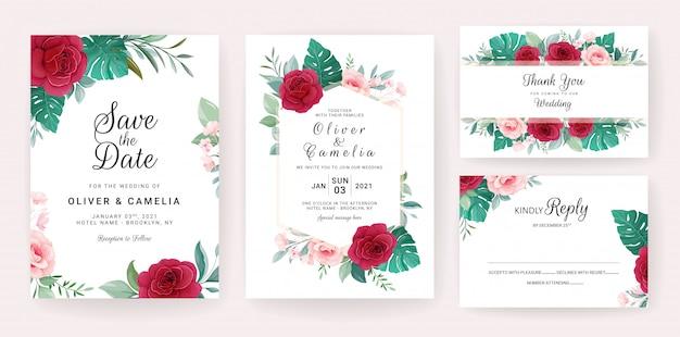 Modelo de cartão de convite de casamento conjunto com rosas, monstera e folhas selvagens
