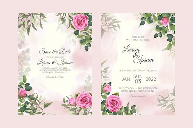 Modelo de cartão de convite de casamento cremoso em aquarela com decoração floral