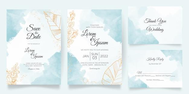 Modelo de cartão de convite de casamento cremoso em aquarela com floral dourado