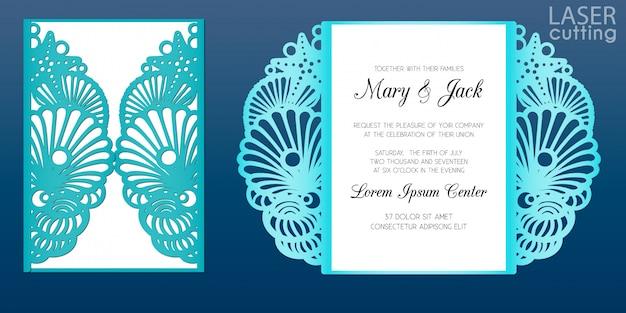 Modelo de cartão de convite de casamento de corte a laser em estilo marinho. cartão de papel cortado com padrão de conchas e estrelas. recorte papel portão dobra cartão para corte a laser ou morrer modelo de corte.